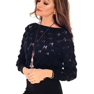 pulover negru roh tricotat scurt br2022 7963 1