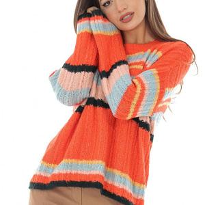 pulover portocaliu cu dungi in contrast roh br2162 8753 1