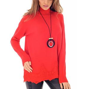 pulover rosu roh cu dantela br1984 7873 1
