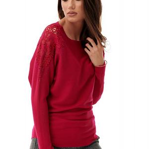 pulover roz cu broderie pe umeri roh br2189 8822 1