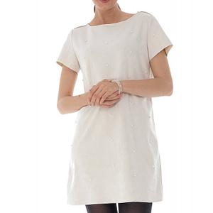 rochie alba cu aplicatii de perle roh dr4014 8974 1