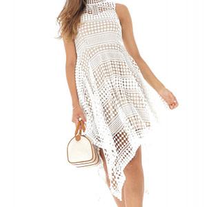 rochie alba din broderie cu croiala in colturi roh dr3945 8726 1