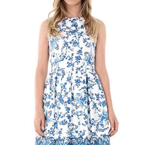 rochie alba roh cu imprimeu albastru dr3383 7132 1