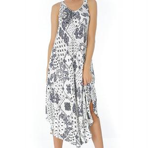 rochie alba roh cu imprimeu bleumarin dr3432 7279 1