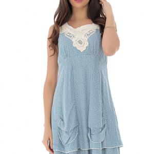 rochie albastra cu broderie si volane roh dr4119 9166 1