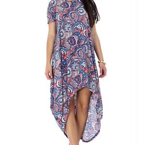 rochie albastra roh cu imprimeu multicolor dr3469 7322 1