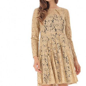 rochie aurie delicata din dantela roh dr3221 6555 1