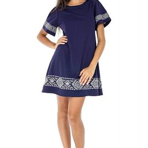 rochie bleumarin cu broderie dr3039 5928 1