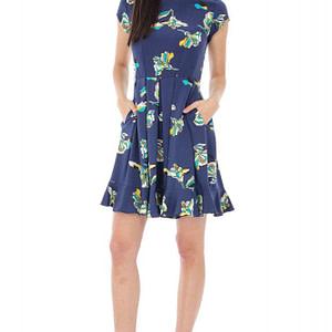rochie bleumarin cu imprimeu floral cld434 5424 1