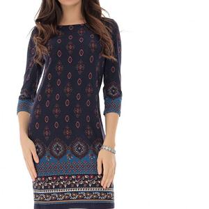 rochie bleumarin cu imprimeu multicolor roh dr4107 9224 1