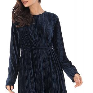 rochie bleumarin cu textura catifelata roh dr3999 8896 1