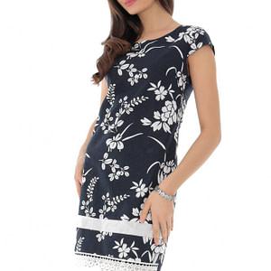 rochie bleumarin cu volane asimetrice roh dr4105 9222 1