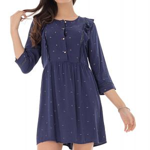 rochie bleumarin cu volane verticale roh dr4101 9216 1