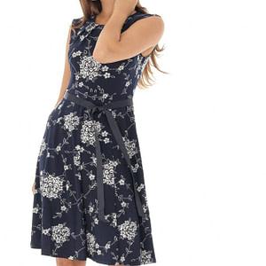 rochie bleumarin imprimata floral roh dr3951 8730 1