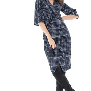 rochie bleumarin in carouri roh petrecuta dr3704 7989 1