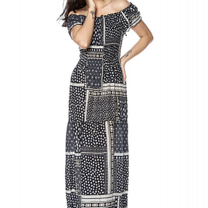 rochie bleumarin maxi cu umeri cazuti roh dr4128 9236 1