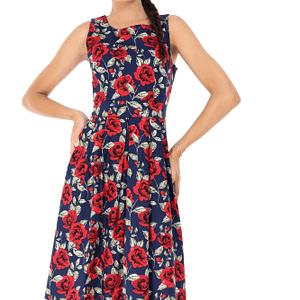rochie bleumarin roh cu imprimeu trandafiri dr3500 7404 1