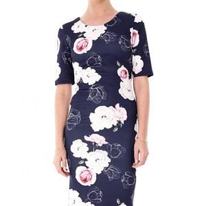 rochie bleumarin roh cu trandafiri dr3388 7140 1