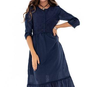 rochie bleumarin roh cu volan la tin dr3567 7526 1