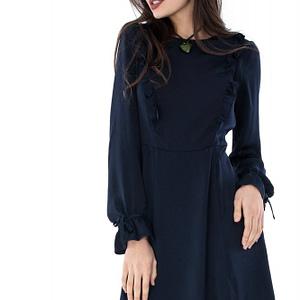 rochie bleumarin roh cu volane dr3238 6574 1