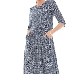 rochie bleumatin cu decolteu stil barcuta cu buzunare roh dr4024 8970 1