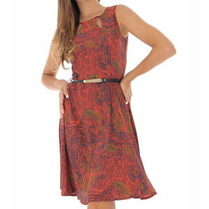 rochie caramizie cu imprimeu frunze roh dr3954 8733 1