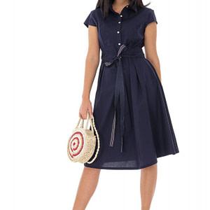 rochie clasica din bumbac bleumarin roh dr4218 9507 1