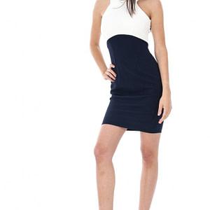 rochie crem cu bleumarin cld424 5413 1