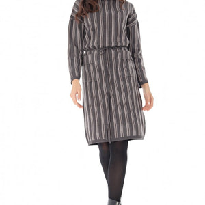 rochie cu guler inalt cu doua buzunare frontale roh dr4017 8951 1