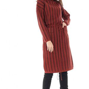 rochie cu guler inalt cu doua buzunare frontale roh dr4018 8952 1