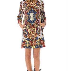 rochie cu guler inalt multicolora roh dr4234 9576 1