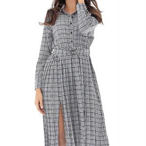 rochie cu guler indoit clasic si maneci lungi roh dr4034 8980 1
