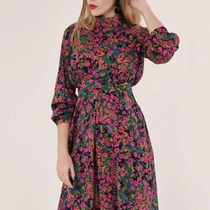 rochie cu imprimeu floral multicolor cu guler scurt roh dr4035 8983 1