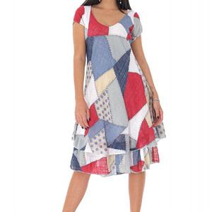rochie cu imprimeu gen petice multicolora roh dr4194 9460 1