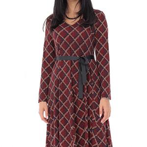rochie cu imprimeu geometric cu cordon grena roh dr4219 9512 1