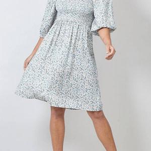 rochie cu umerii cazuti ditsy print mint roh dr4141 9279 1