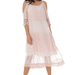 rochie de vara cu broderie roz pal roh dr4213 9502 1