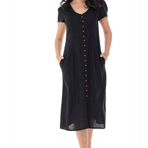 rochie decoltata din in negru roh dr4137 9275 1