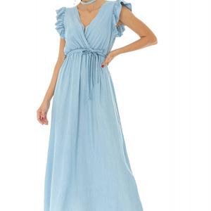 rochie denim maxi cu cordon in talie roh dr3871 8543 1