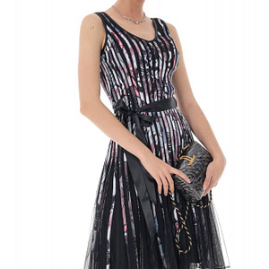 rochie deosebita midi neagra cu dungi multicolore roh dr4025 8953 1