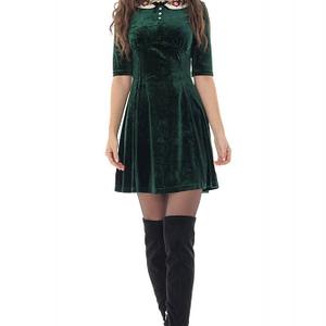 rochie din catifea roh verde cu guler in contrast dr4248 9668 1