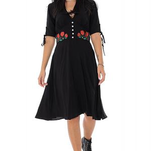 rochie din vascoza cu broderie roh dr4208 9500 1