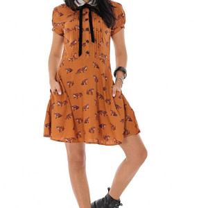 rochie din vascoza cu imprimeu mustar roh dr4209 9501 1