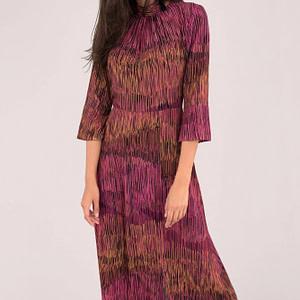 rochie feminina multicolora cu maneci trei sferturi roh dr4038 8986 1