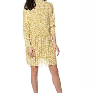 rochie galben pal plisata cu guler inalt roh dr4135 9249 1