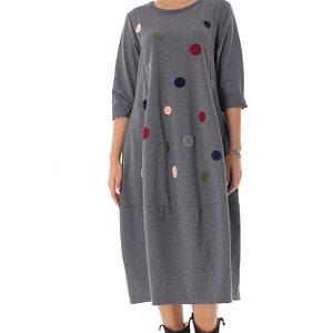 rochie grey midi cu maneci lungi cu buline roh dr4228 9554 1