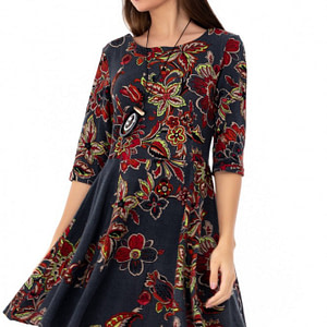 rochie gri roh cu imprimeu colorat dr3667 7856 1