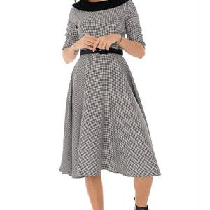 rochie in caro cu guler si curea din catifea negru alb roh dr4210 9519 1