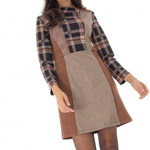 rochie in carouri cu guler inalt roh dr3998 bg 8895 1