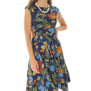 rochie in culori tropicale cu cordon si croiala in colturi roh dr3892 8587 1